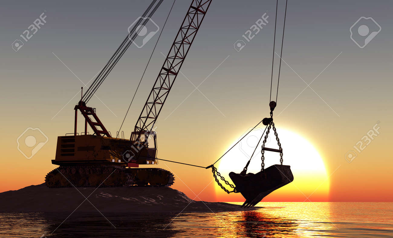 Excavator with a big bucket against the evening landscape. Stock Photo - 20123350