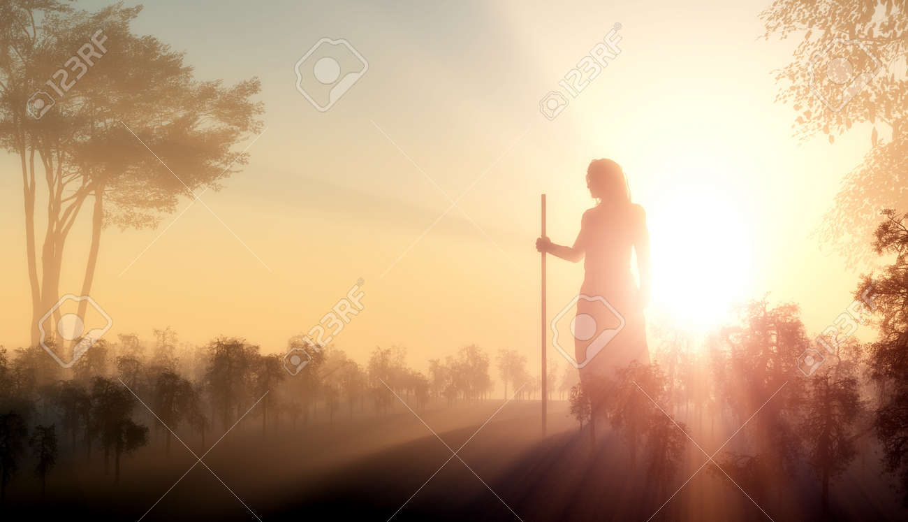 silhouette of jesus in the sunlight stock photo picture and
