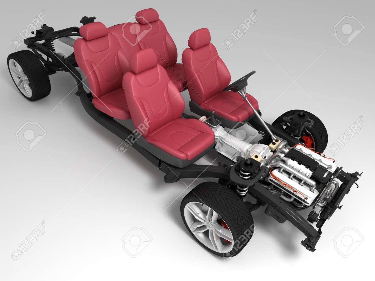 Das Fahrzeug-Rahmen Mit Dem Motor Auf Einem Weißen Hintergrund ...