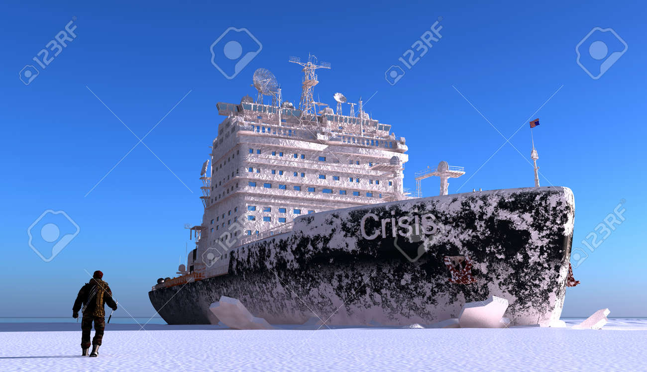 Icebreaker ship on the ice in the sea. - 23140972