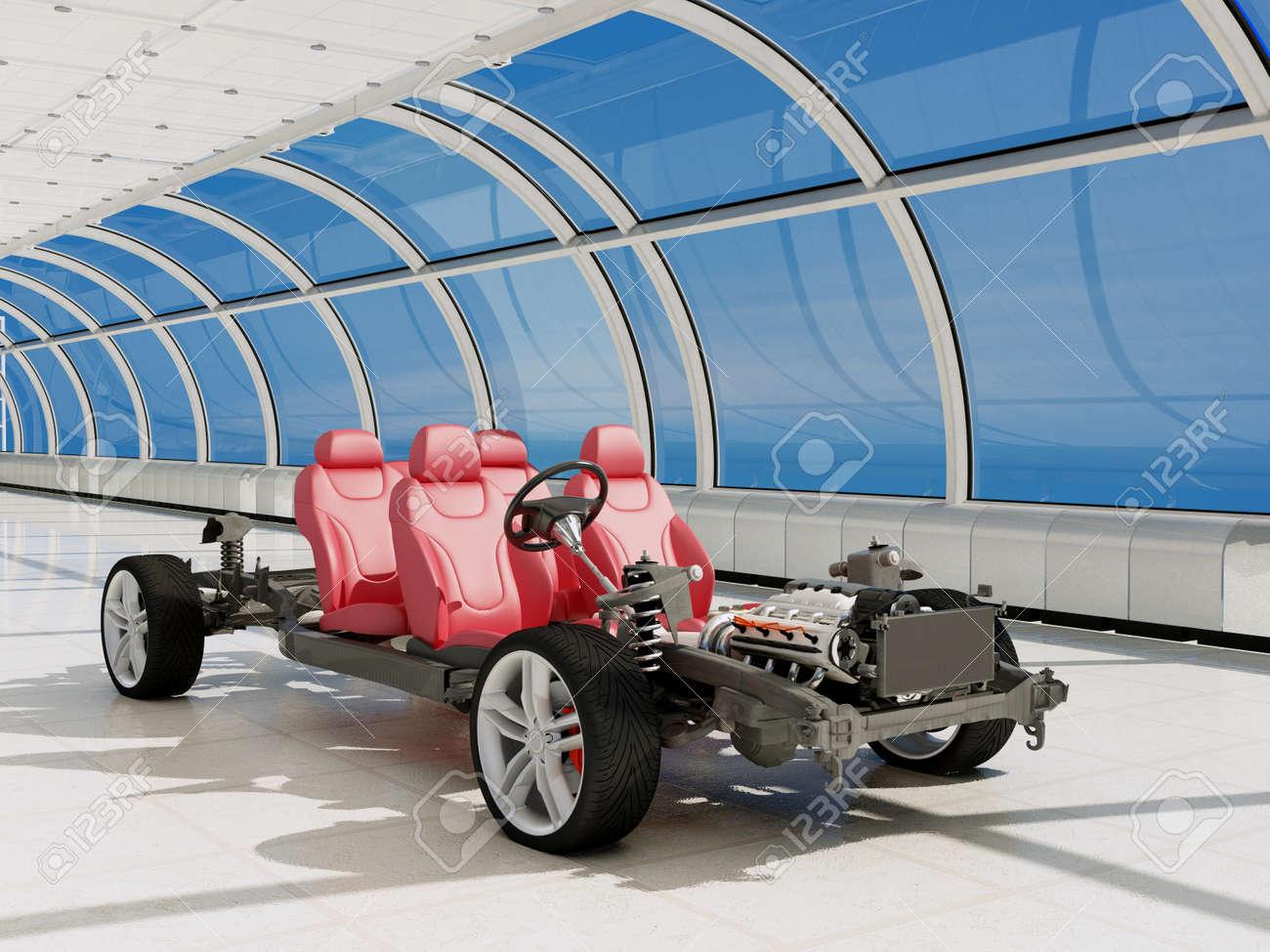 El Bastidor Del Vehículo Con El Motor En Unos Túneles De Vidrio ...