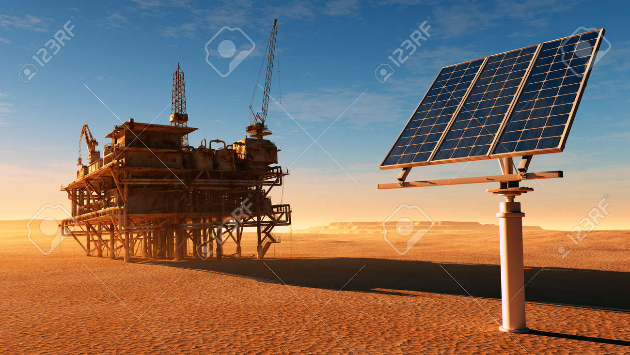 Solar panel station and the old oil-producing desert.