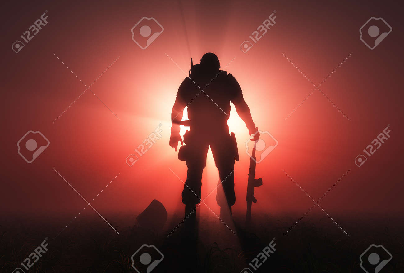 Silhouette of a soldier on a red background. - 44656996