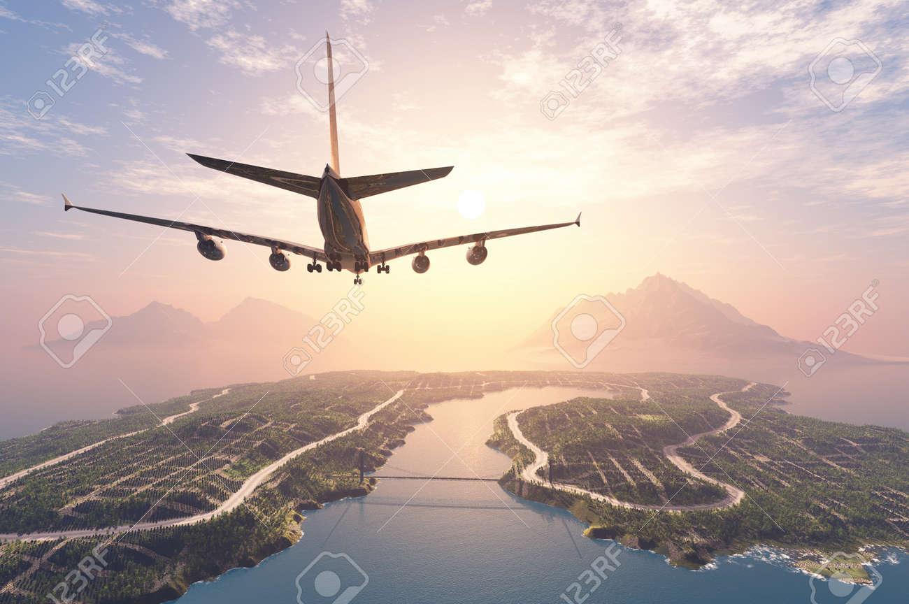 Modern aircraft flies over the island. - 52329765