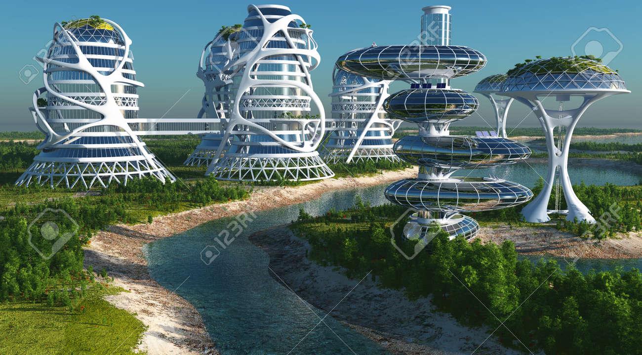 Future City on the coast.3d render - 65806002