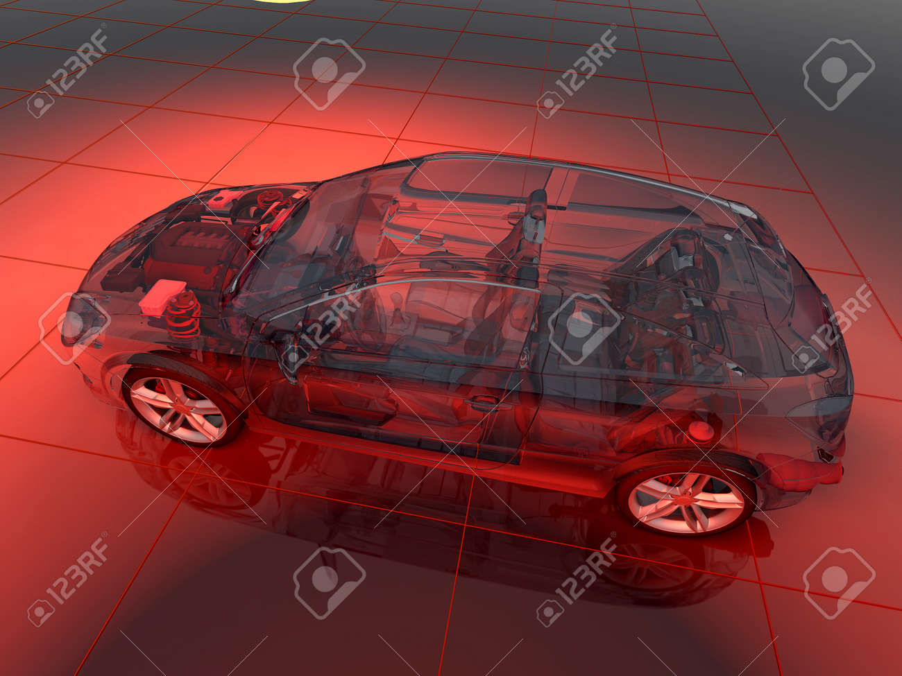 Model cars on the background of the drawing 3d render stock photo 68592583