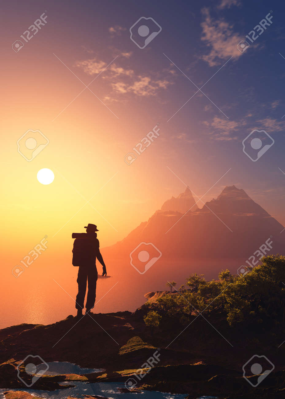 Silhouette Of Man On Nature Background.,3d Render Stock Photo