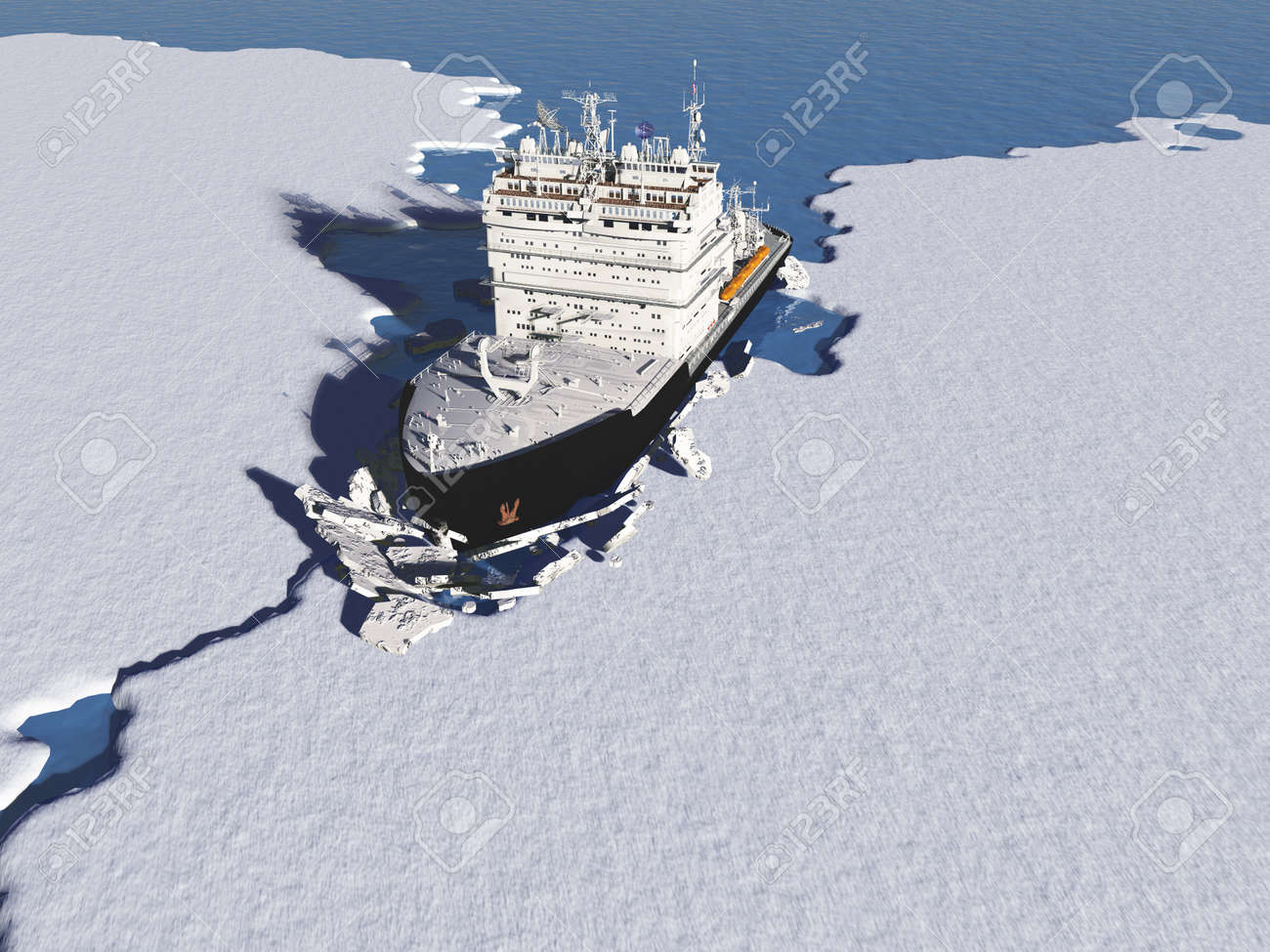 Icebreaker ship on the ice in the sea.,3d render - 117071279
