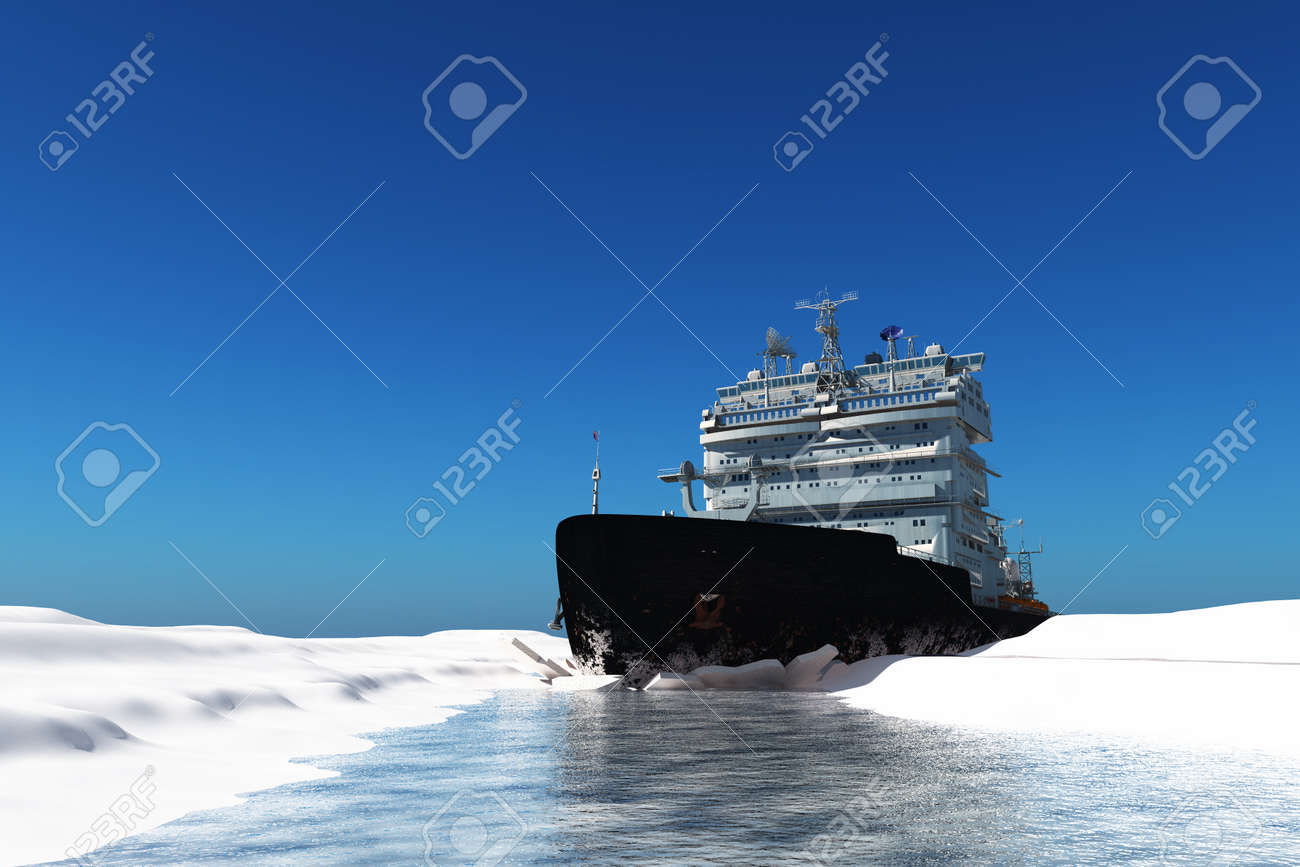 Icebreaker ship on the ice in the sea., 3d render - 153252833