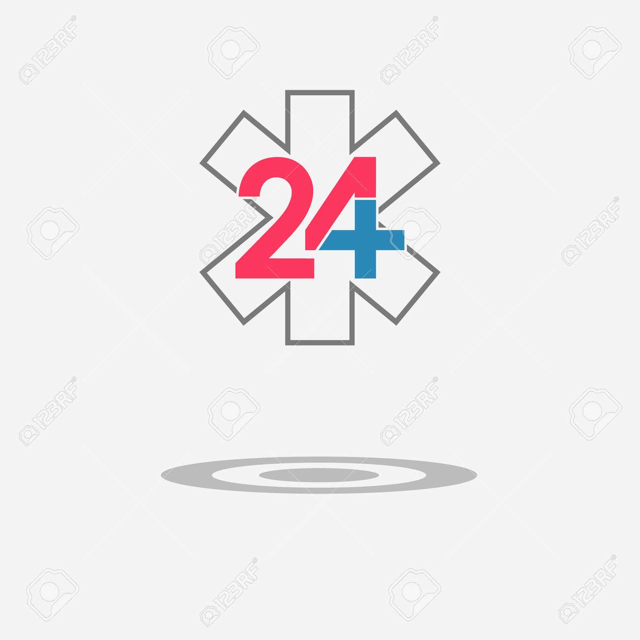 Twenty Four Available Medical Help Icon Emergency Symbol Star