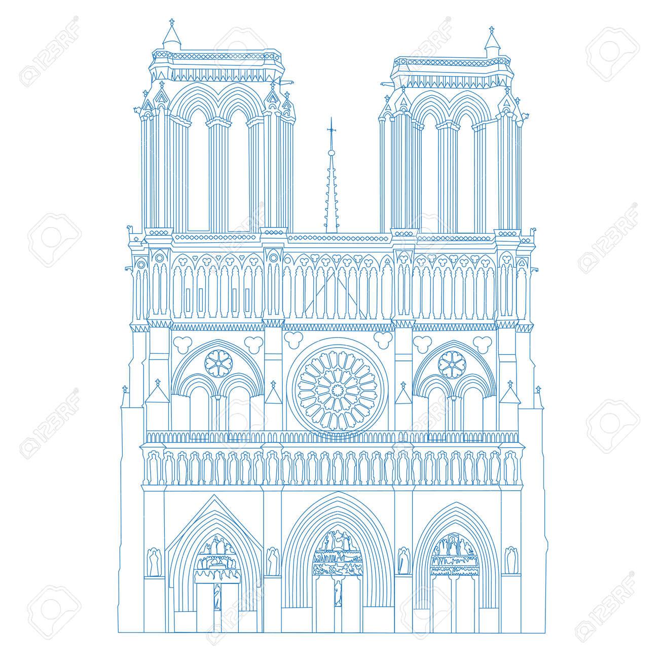 Cathédrale Notre Dame De Paris France Vector Linear Legende