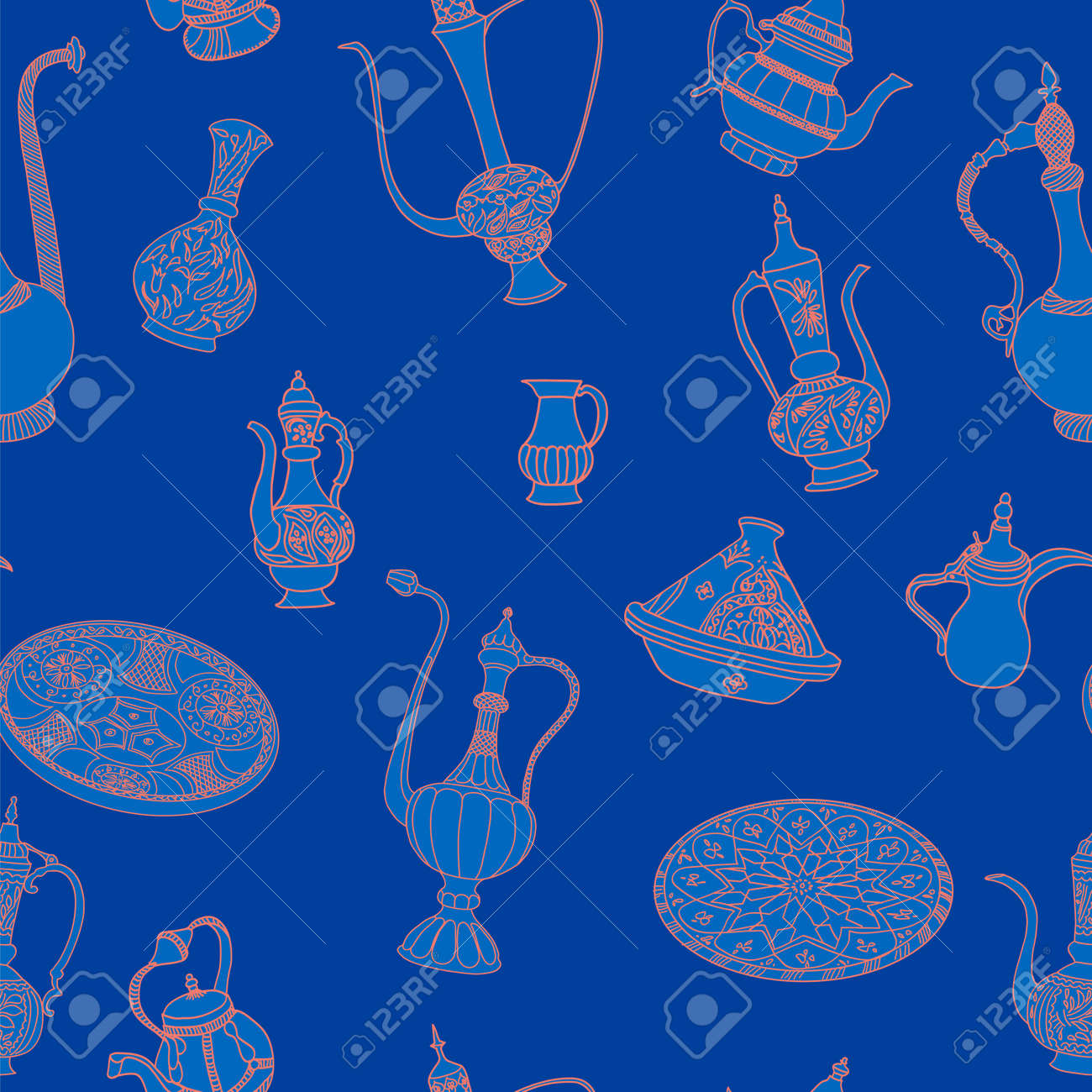 nahtlose vektor muster der arabischen geschirr oriental keramik geschirr illustration auf blauem hintergrund - Geschirr Muster