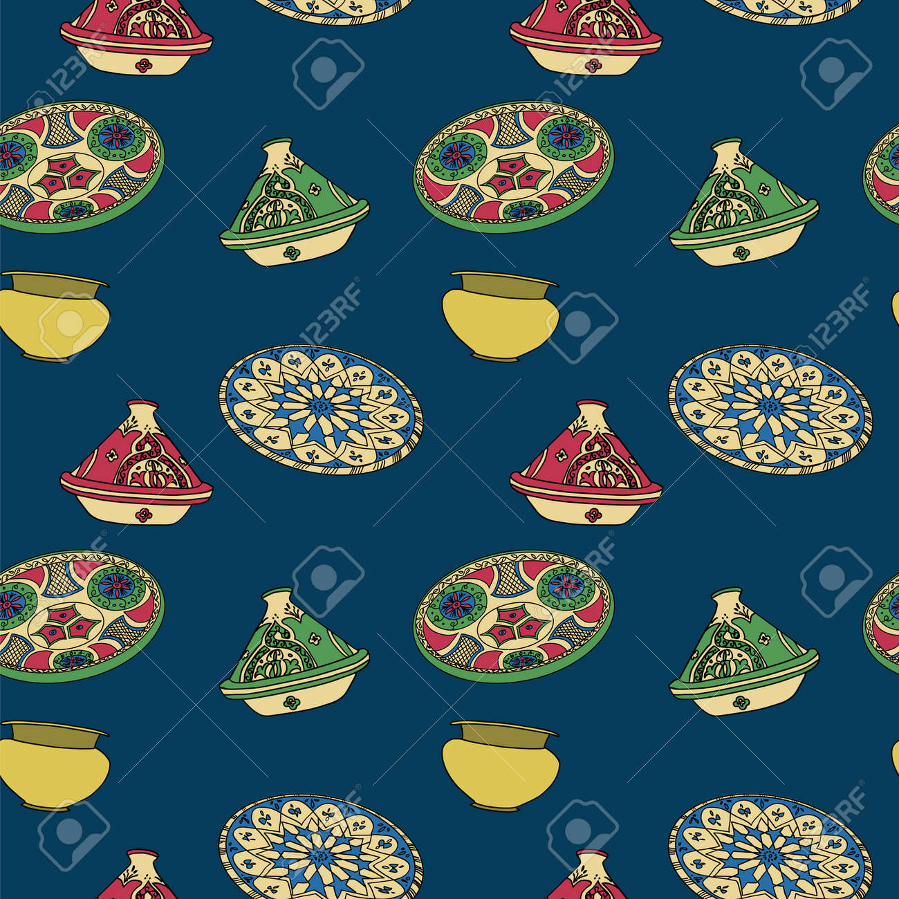 Beautiful Algeria Eid Al-Fitr Decorations - 68593111-vector-colorful-seamless-pattern-of-arabic-crockery-oriental-pottery-dishes-illustration-on-blue-bac  2018_163338 .jpg