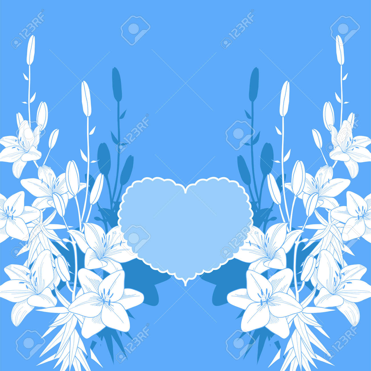 Blue And White Lily Vector Love Card Wedding Invitation Template Royalty Free Cliparts Vectors And Stock Illustration Image 79181922