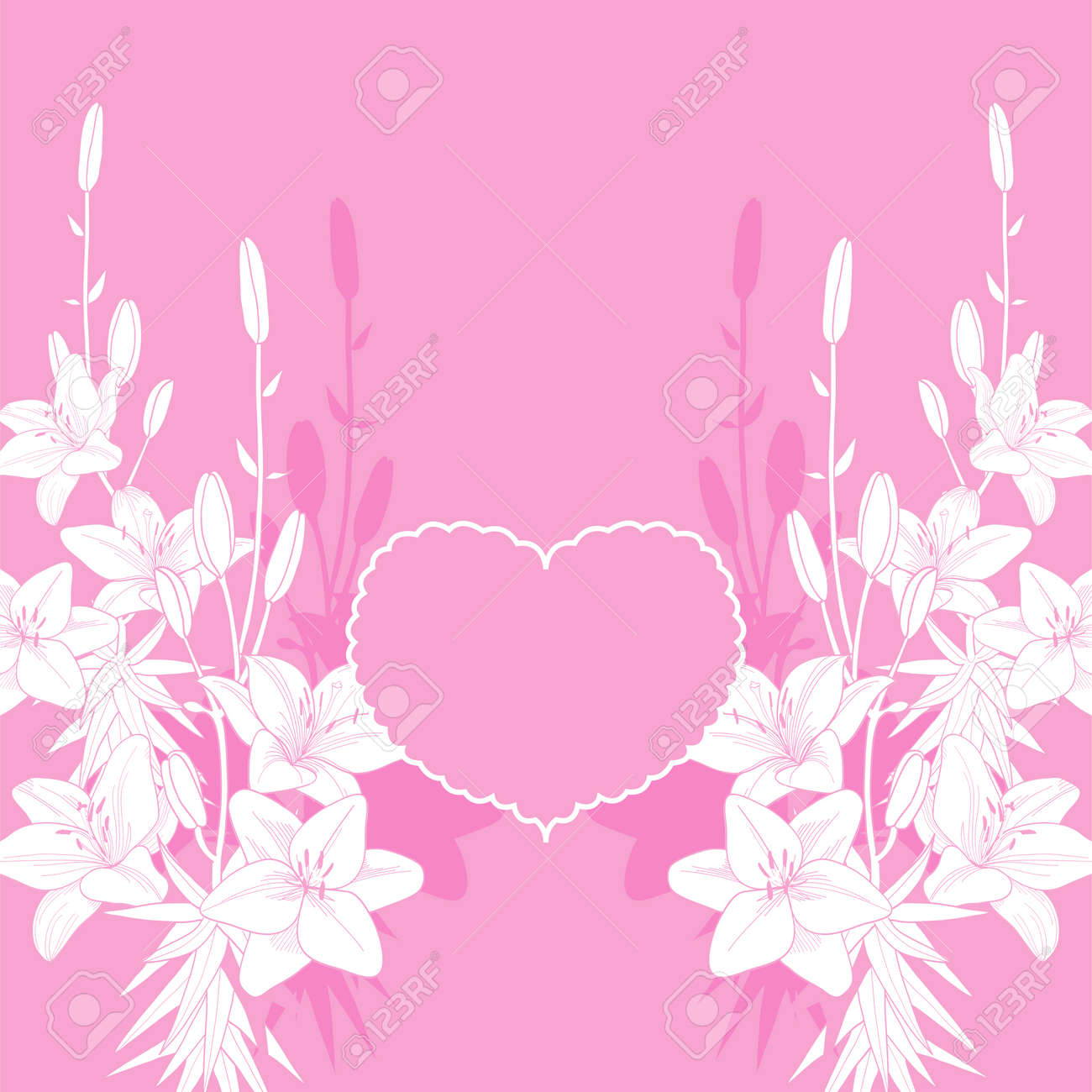 Pink Lily Vector Love Card Background Wedding Invitation Template