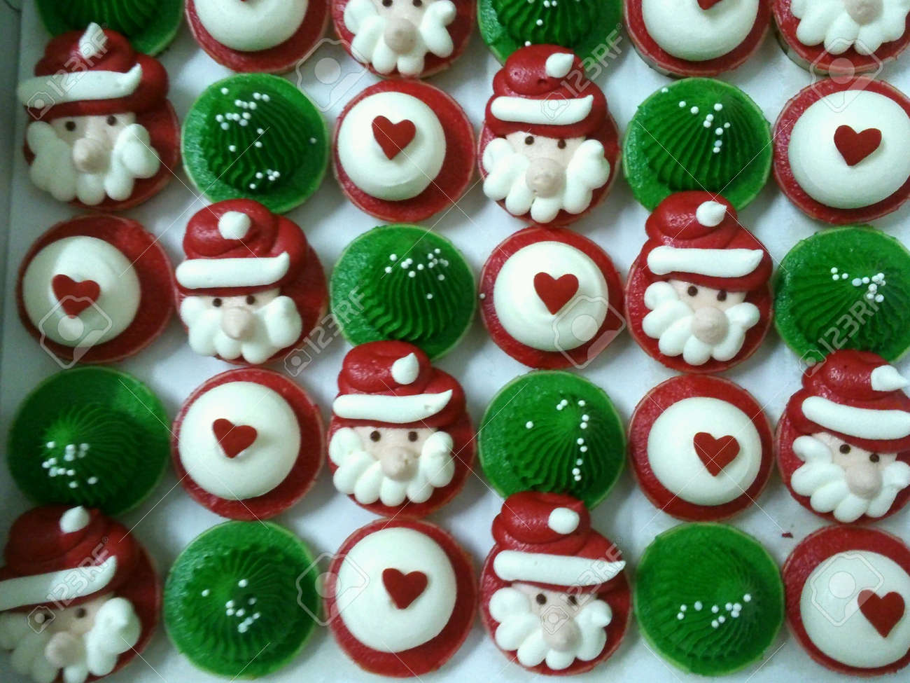 delicious christmas themed cupcakes stock photo picture and royalty