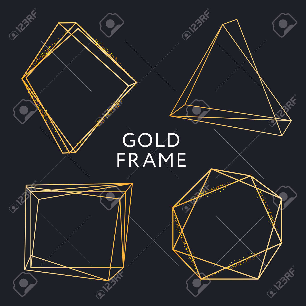 e1acee356f8 Gold Frame Geometric Shape Minimalism Vector Design Banner Golden Set Stock  Vector - 105674569