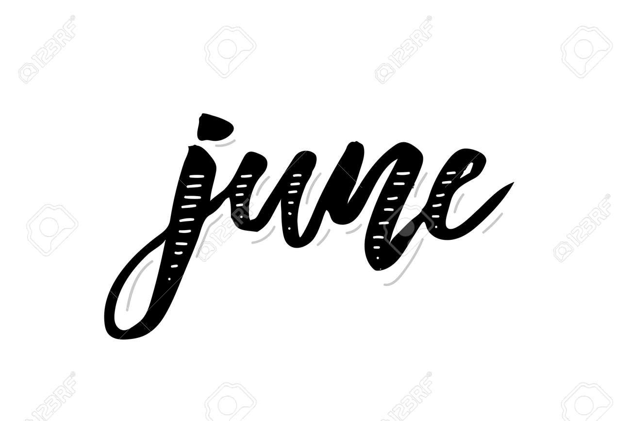 June Calligraphy Lettering Day Month Vector Brush Illustration