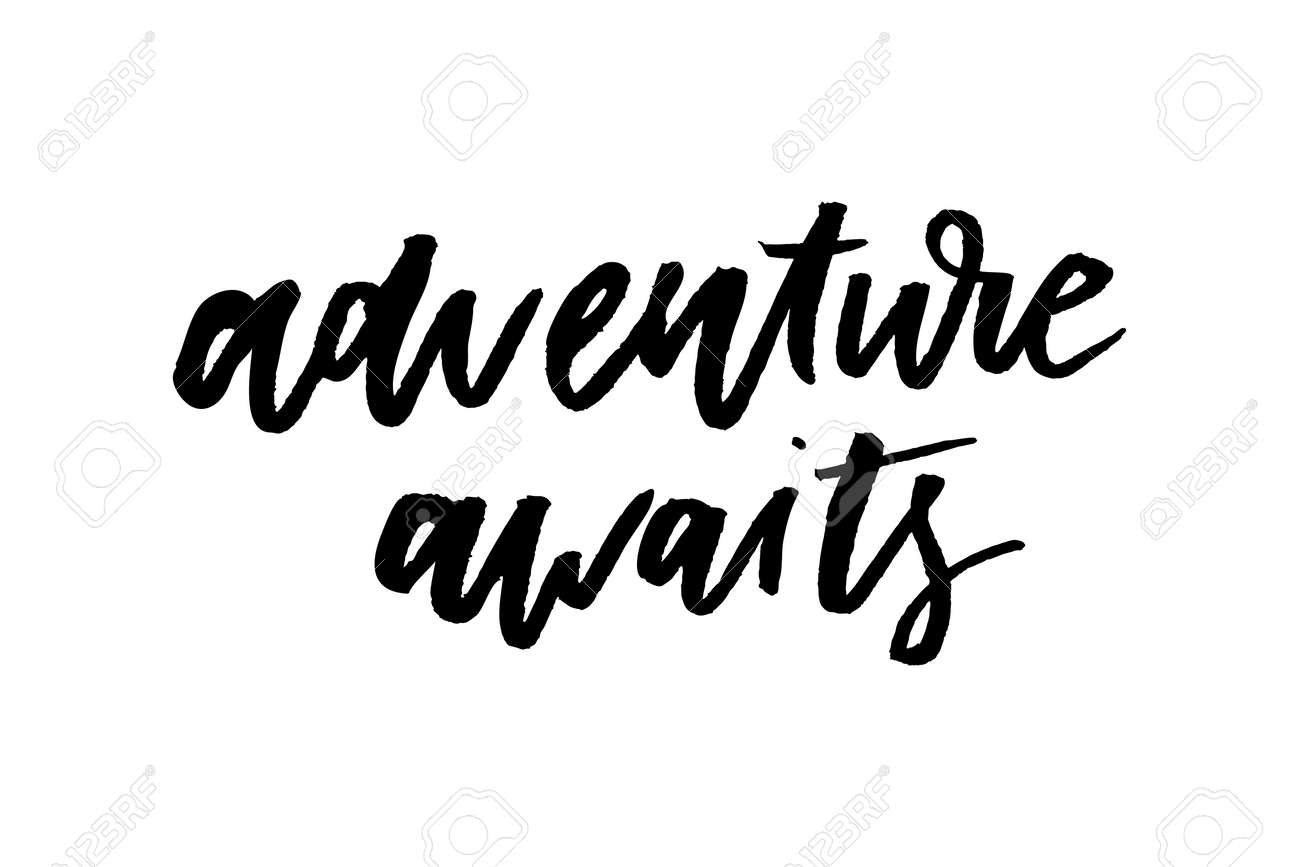 Slogan Adventure Awaits Phrase Graphic Vector Print Fashion Lettering Royalty Free Cliparts Vectors And Stock Illustration Image 110310287