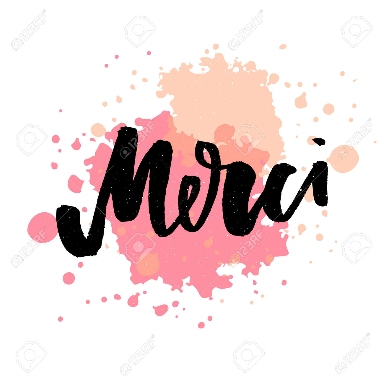 Merci French Word Meaning Thank You Custom Hand Lettering For