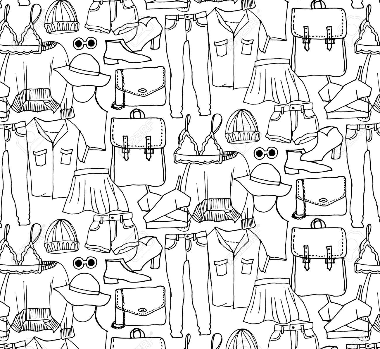 Hand drawn winter knitted clothes set . Vector pattern - 124717565
