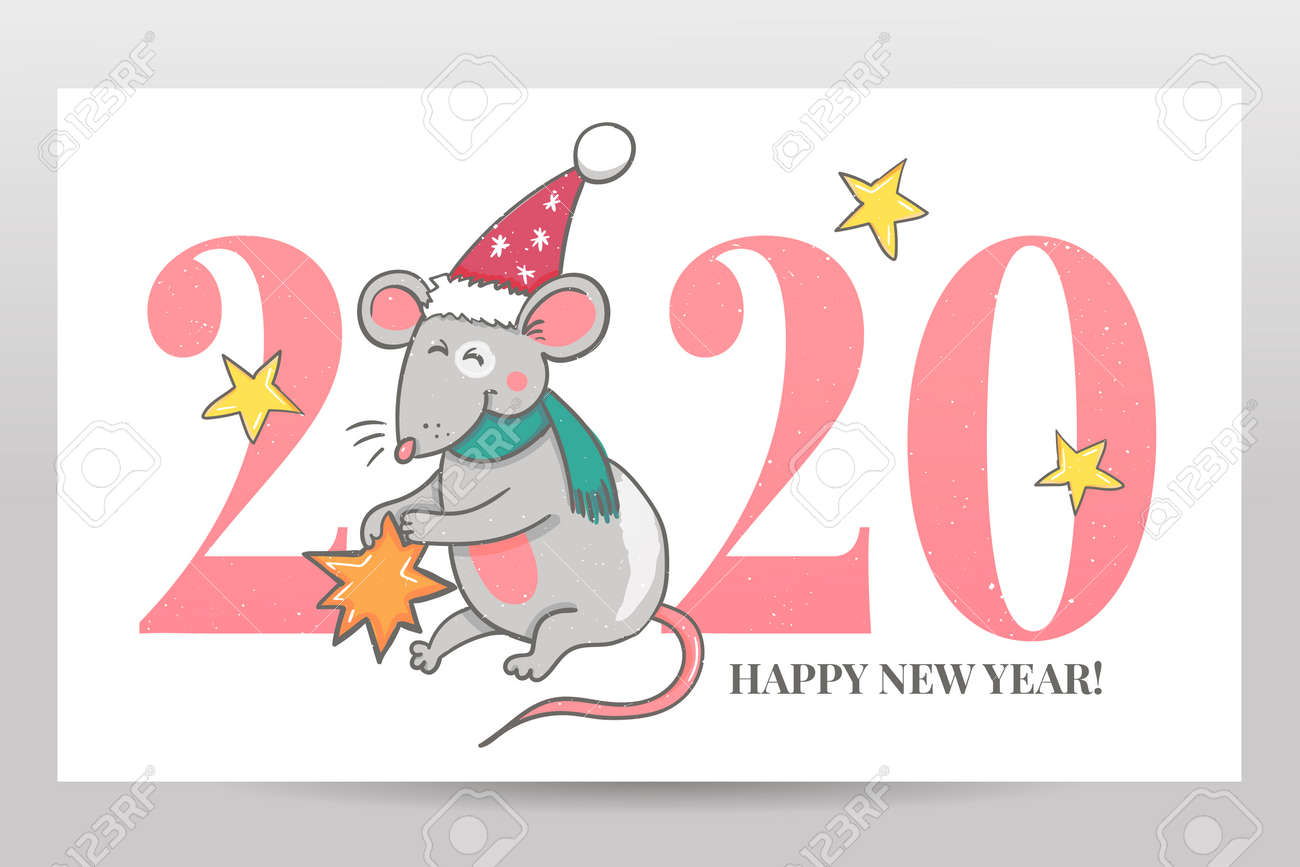 Happy New Year 2020 Funny.Template Image Happy New Year Party With Rat White Background
