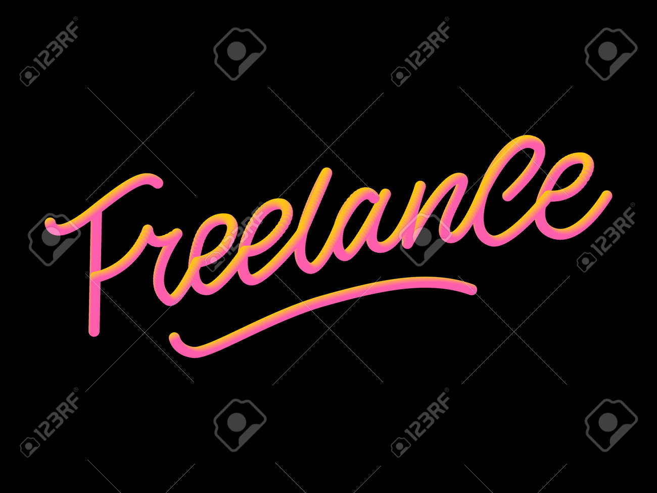 Hand sketched Freelance word. Great for card, invitation, badge, tag, icon, poster, banner template Lettering typography Vector - 138527987
