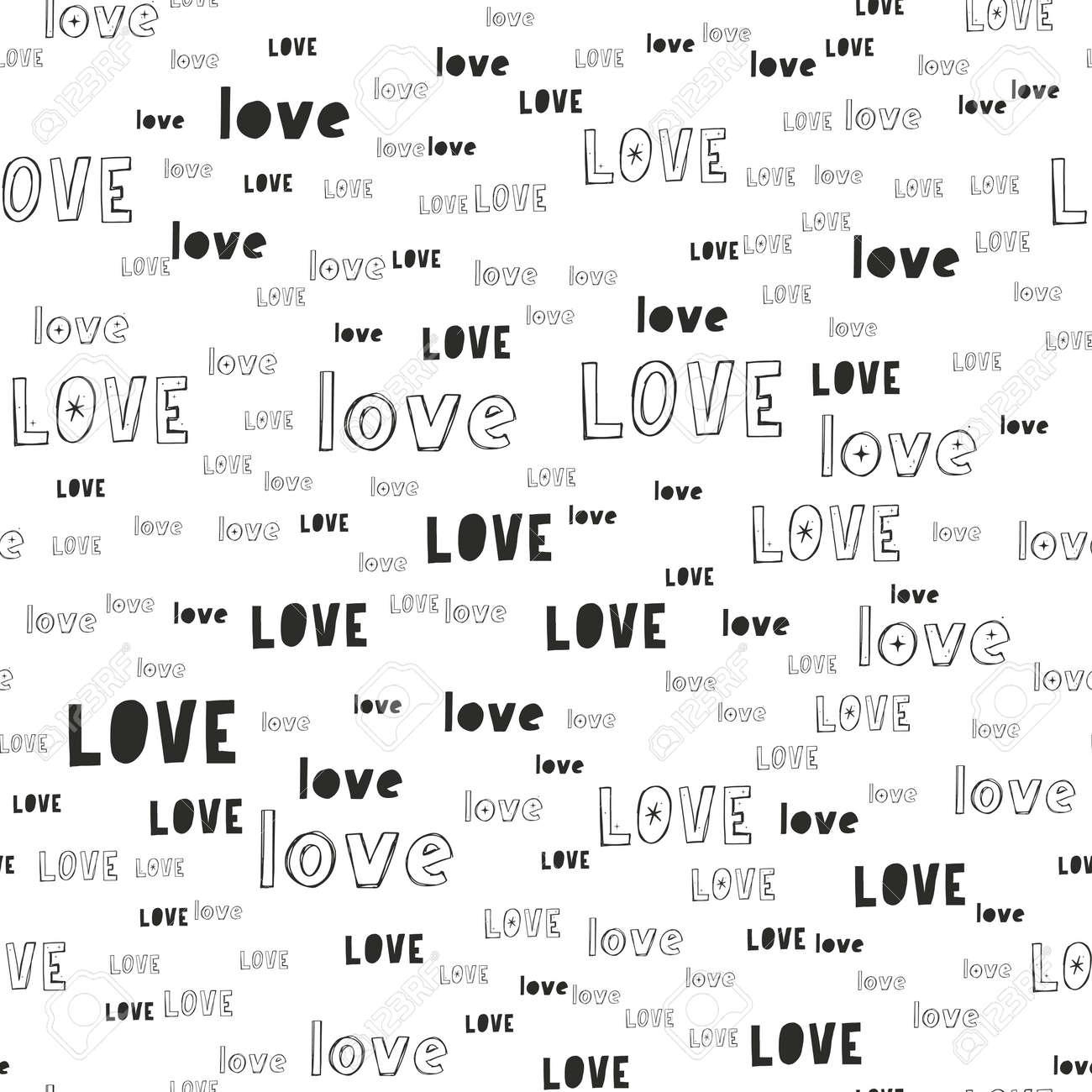 Vector handmade lettering LOVE - seamless pattern - 167568957