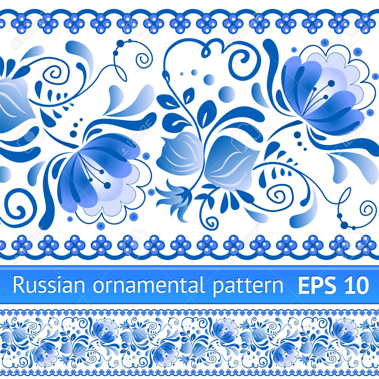 Russian national blue floral pattern Stock Vector - 16110211