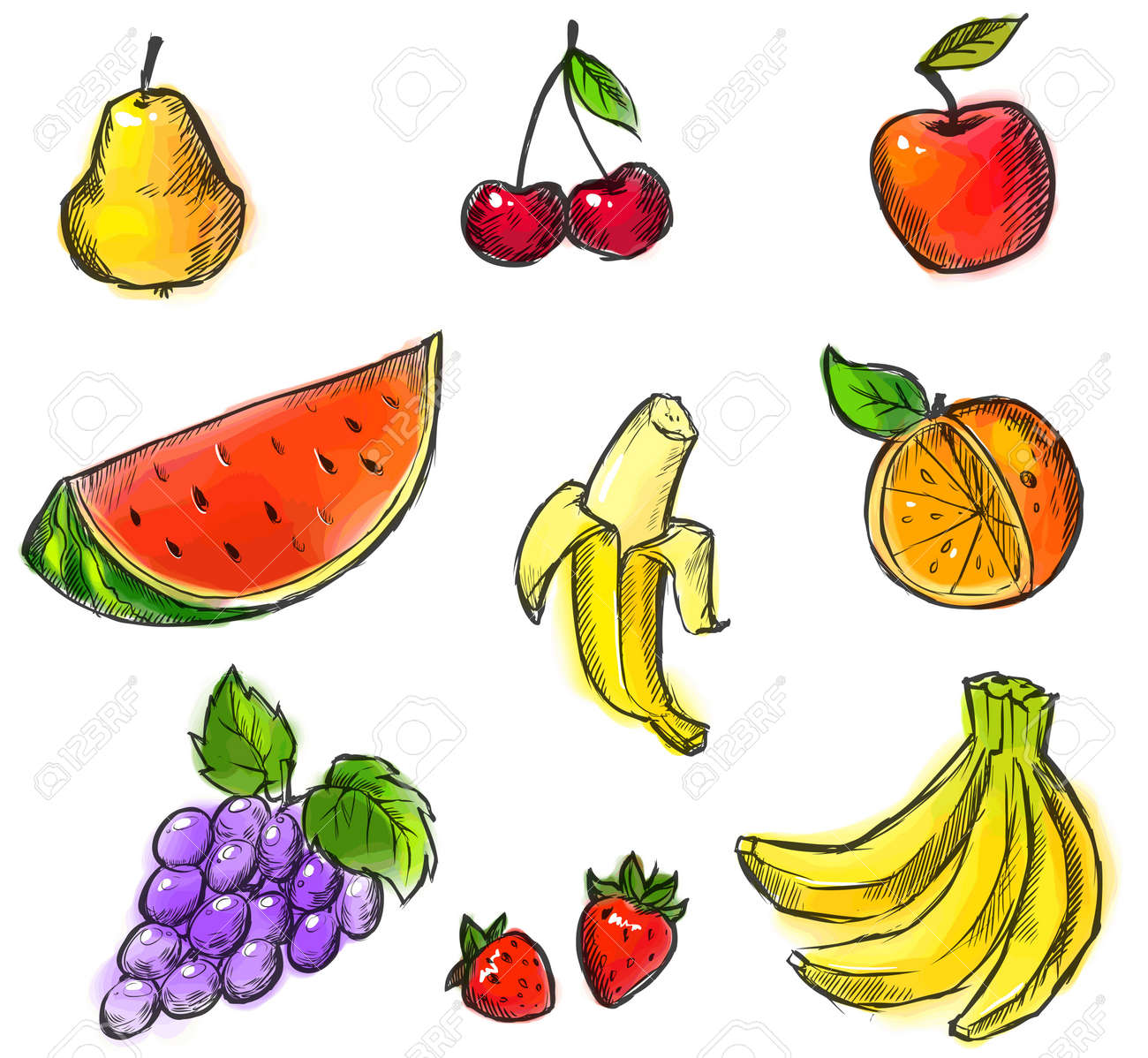 Colorful Fruits Collection Created From Original Hand Draw Royalty