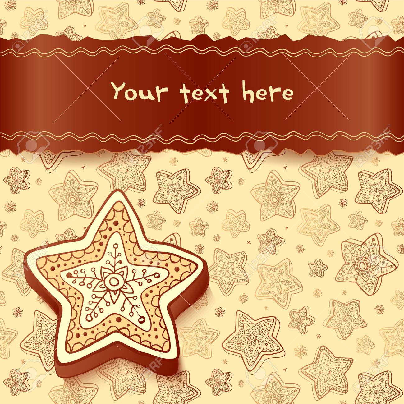Christmas chocolate honey-cakes greetings card Stock Vector - 16173767