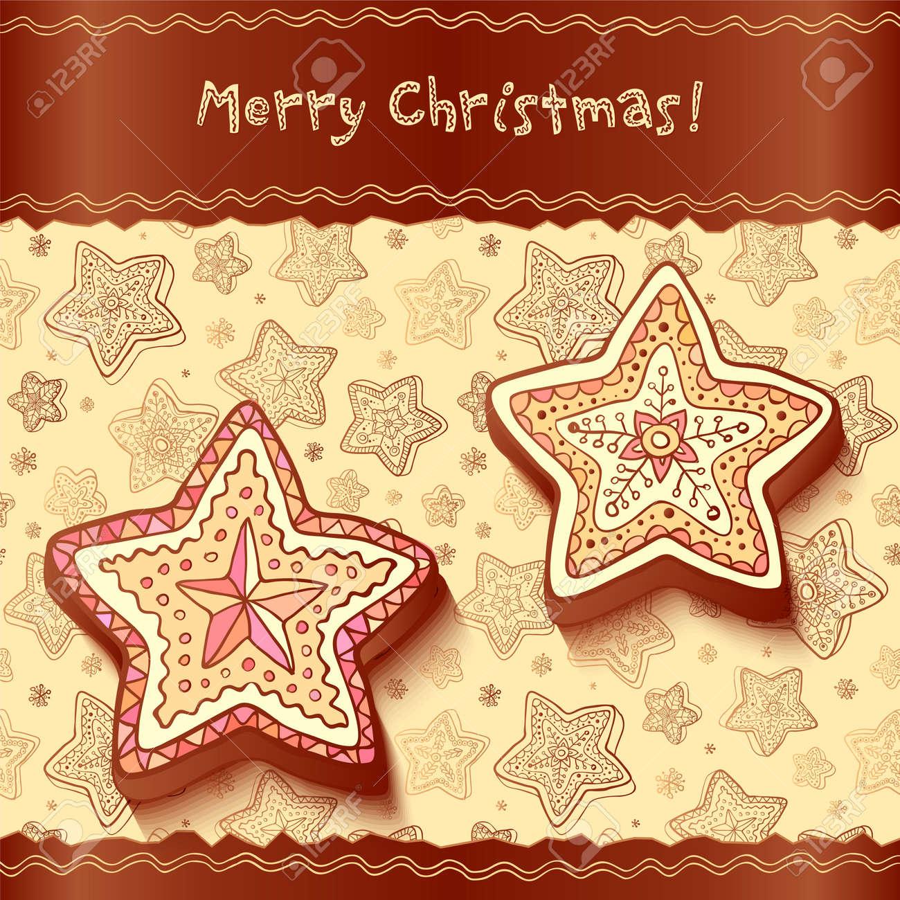 Christmas chocolate honey-cakes greetings card Stock Vector - 16173770