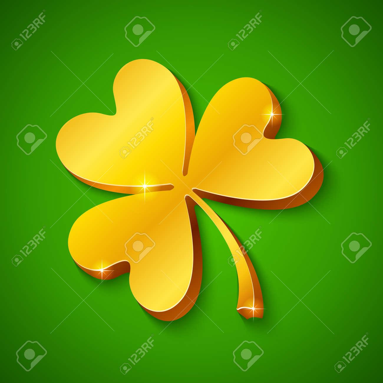 Golden clover on the green background Stock Vector - 16296082