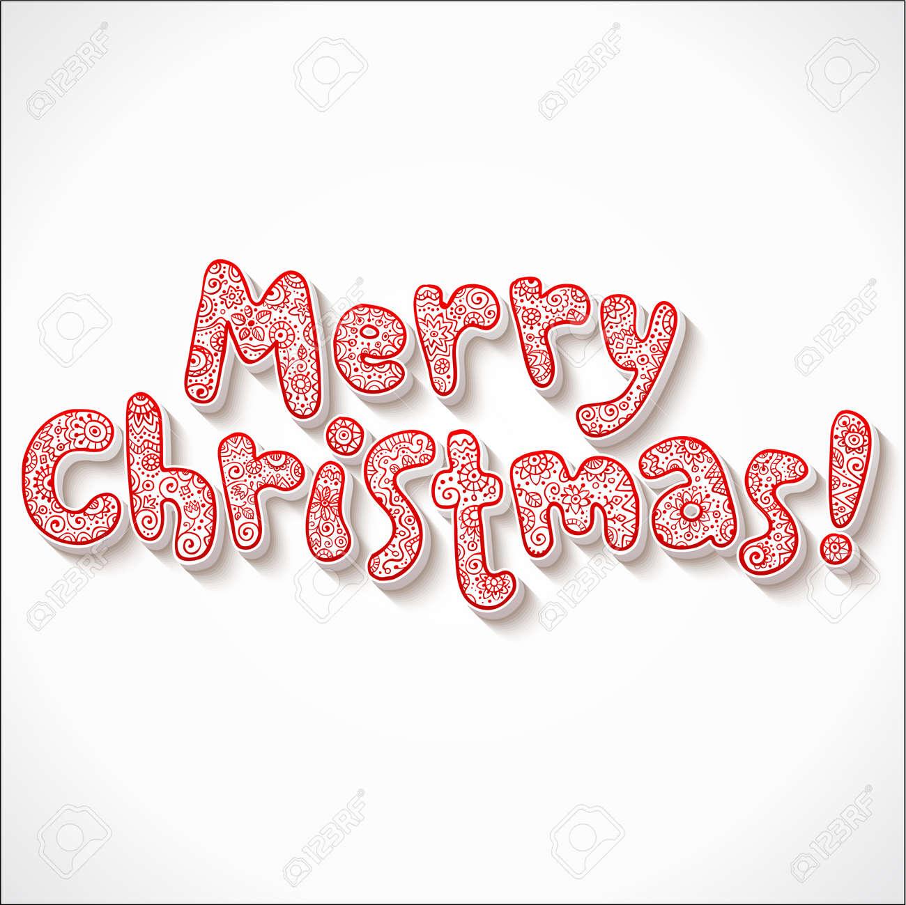 Hand lettering ornate Merry Christmas sign Stock Vector - 16296129