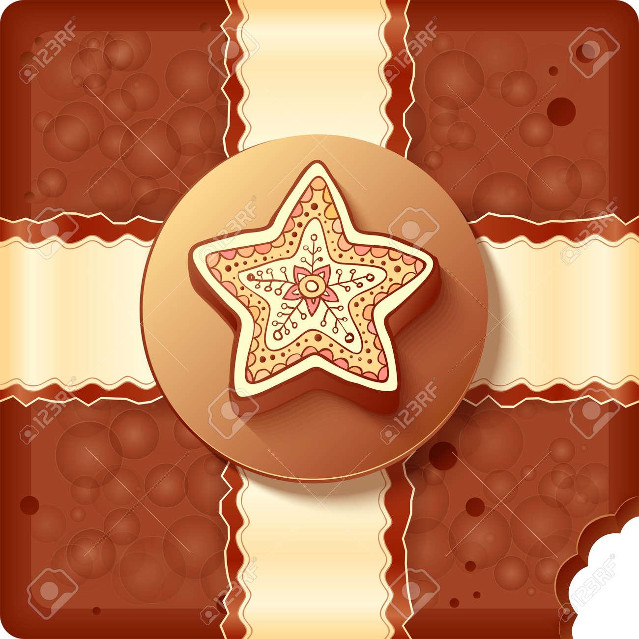 Christmas chocolate box with chocolate badge and ribbon Stock Vector - 16403270