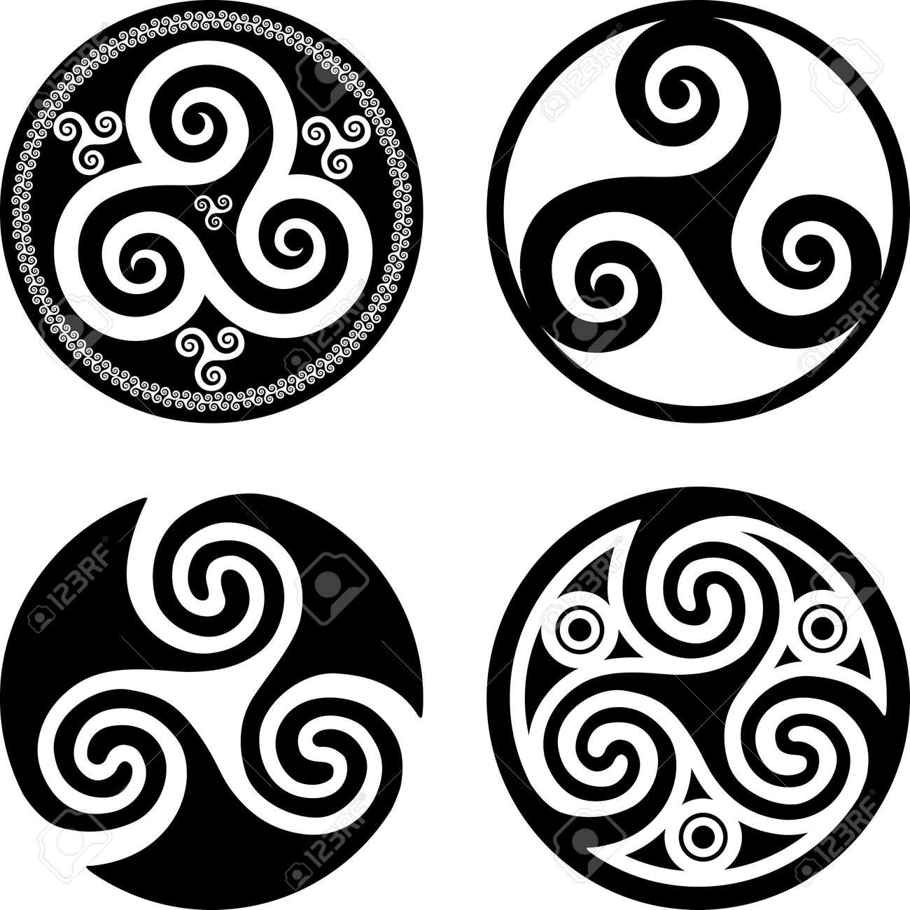 set of black isolated celtic symbols triskels royalty free