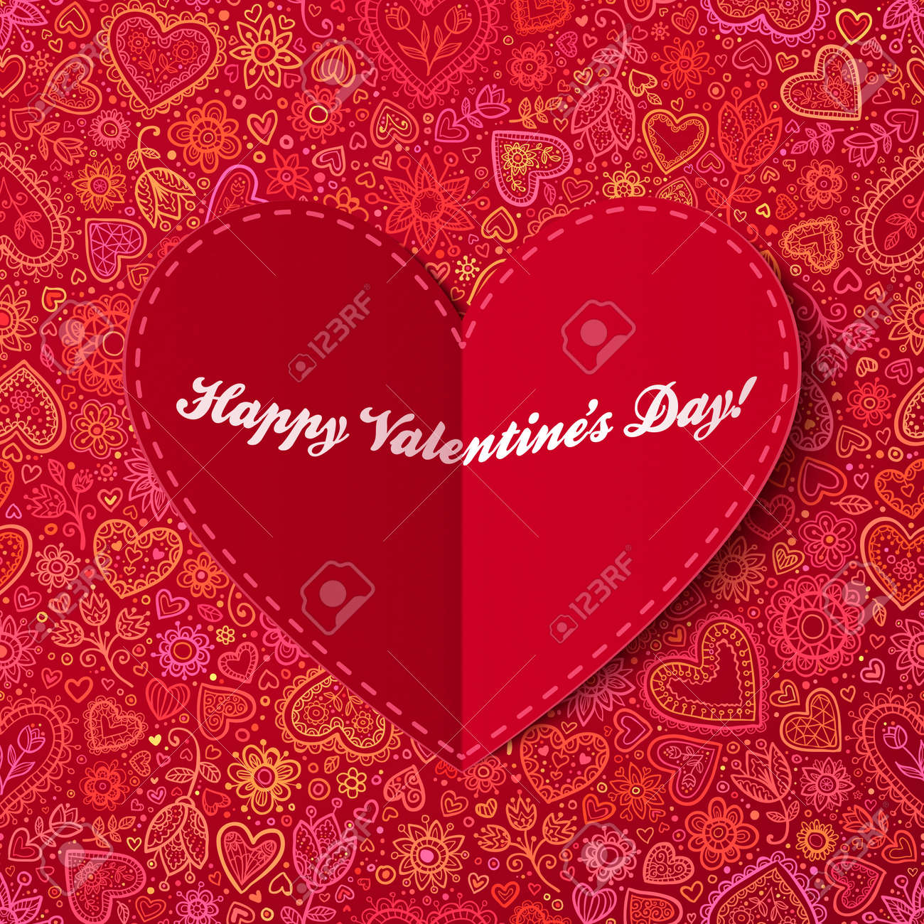 Red heart from paper Valentines day card with sign Stock Photo - 16853094
