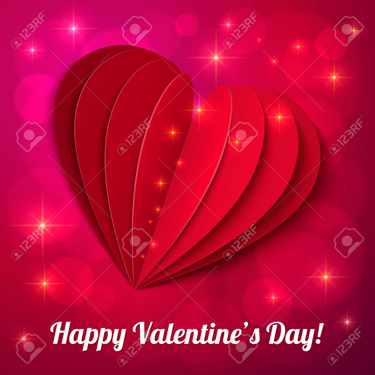 Red heart from paper Valentines day card with sign and lights Stock Vector - 16853093