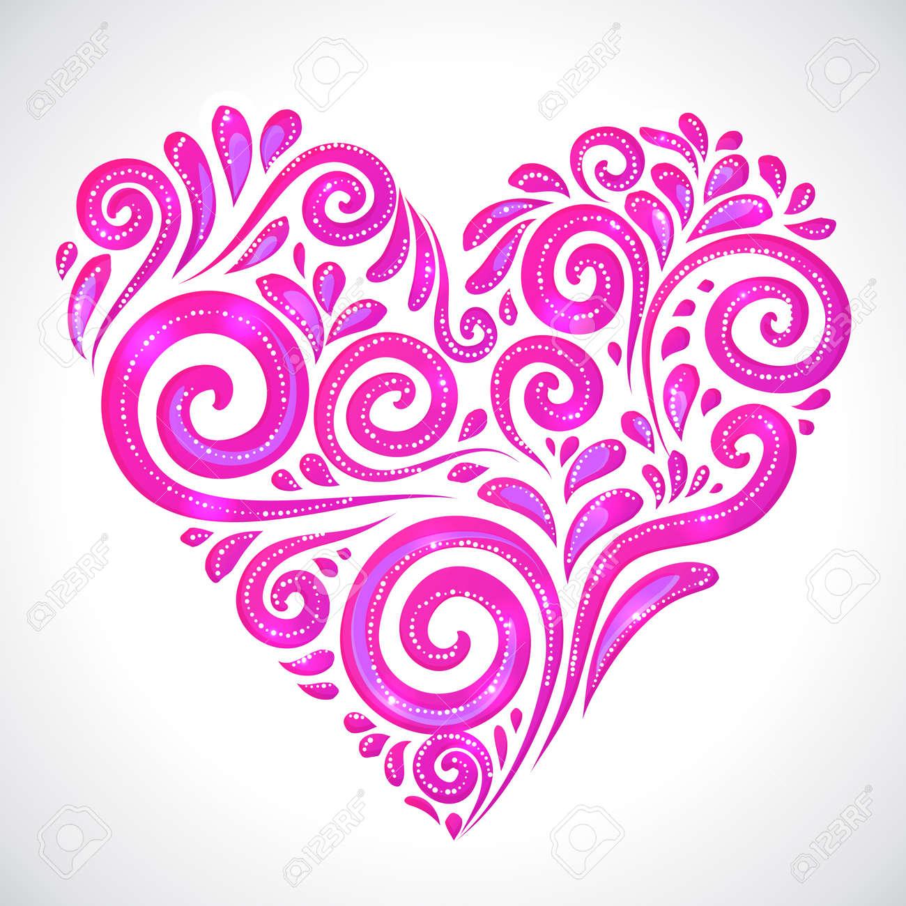 Blue vector ornate shining heart on white background Stock Vector - 16933234