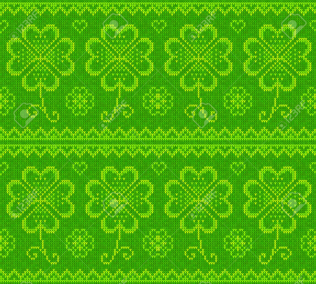 Patrick s day green knitted clovers seamless pattern Stock Vector - 17014953