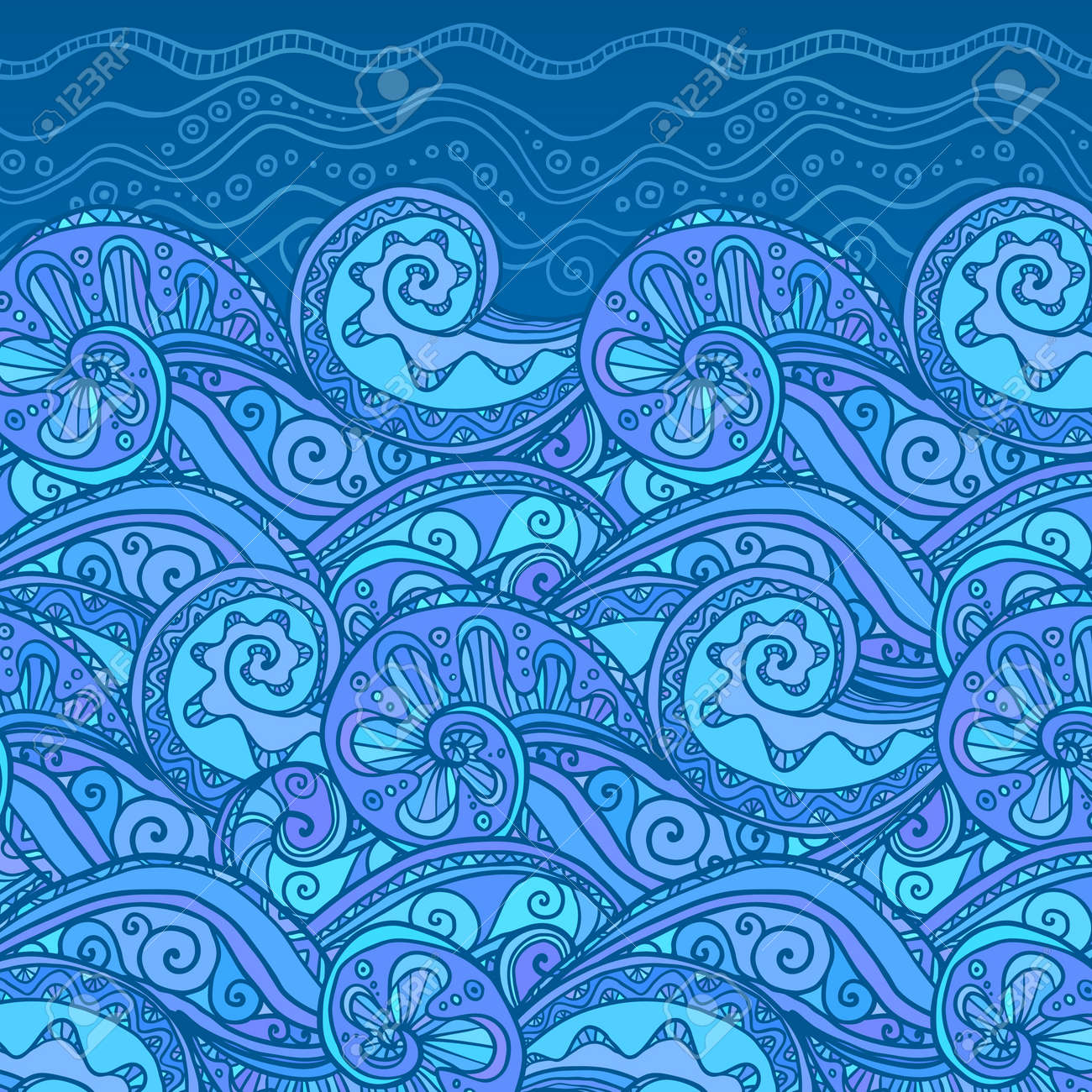 Vector ornate doodle lacy sea background Stock Vector - 17158798