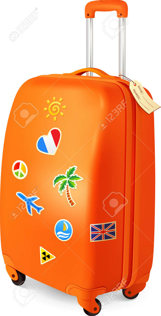 Orange traveling baggage  suitcase with stickers Stock Vector - 17315936