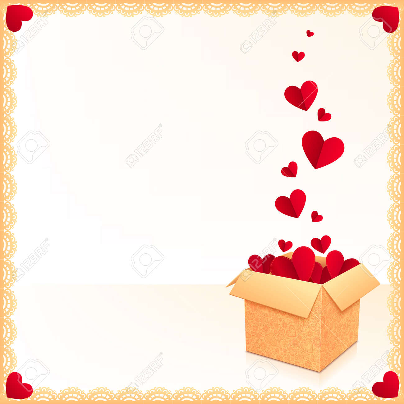 Greeting card with ornate box of red hearts and lacy frame Stock Vector - 17350370