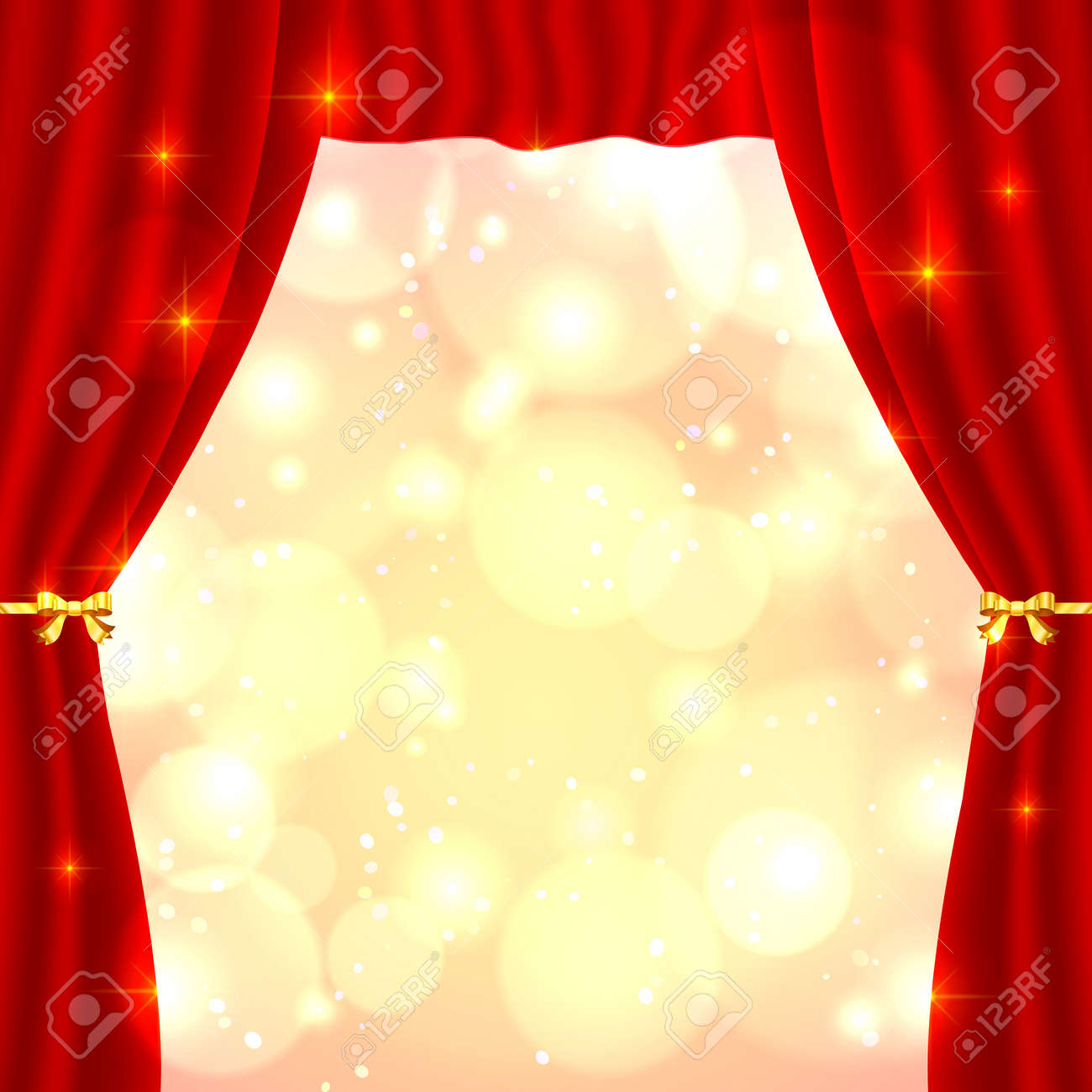 Red opened vector theatrical curtain with bright lights inside Stock Vector - 17350363