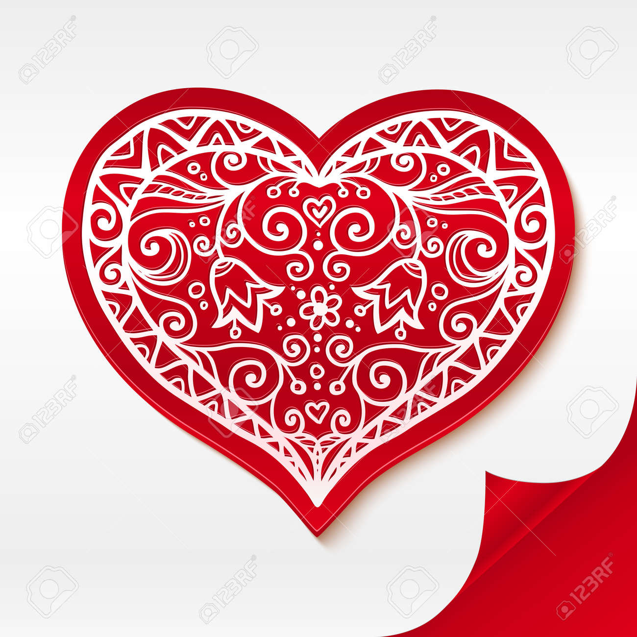 Red lacy plastic heart on curved white paper Stock Vector - 17390758