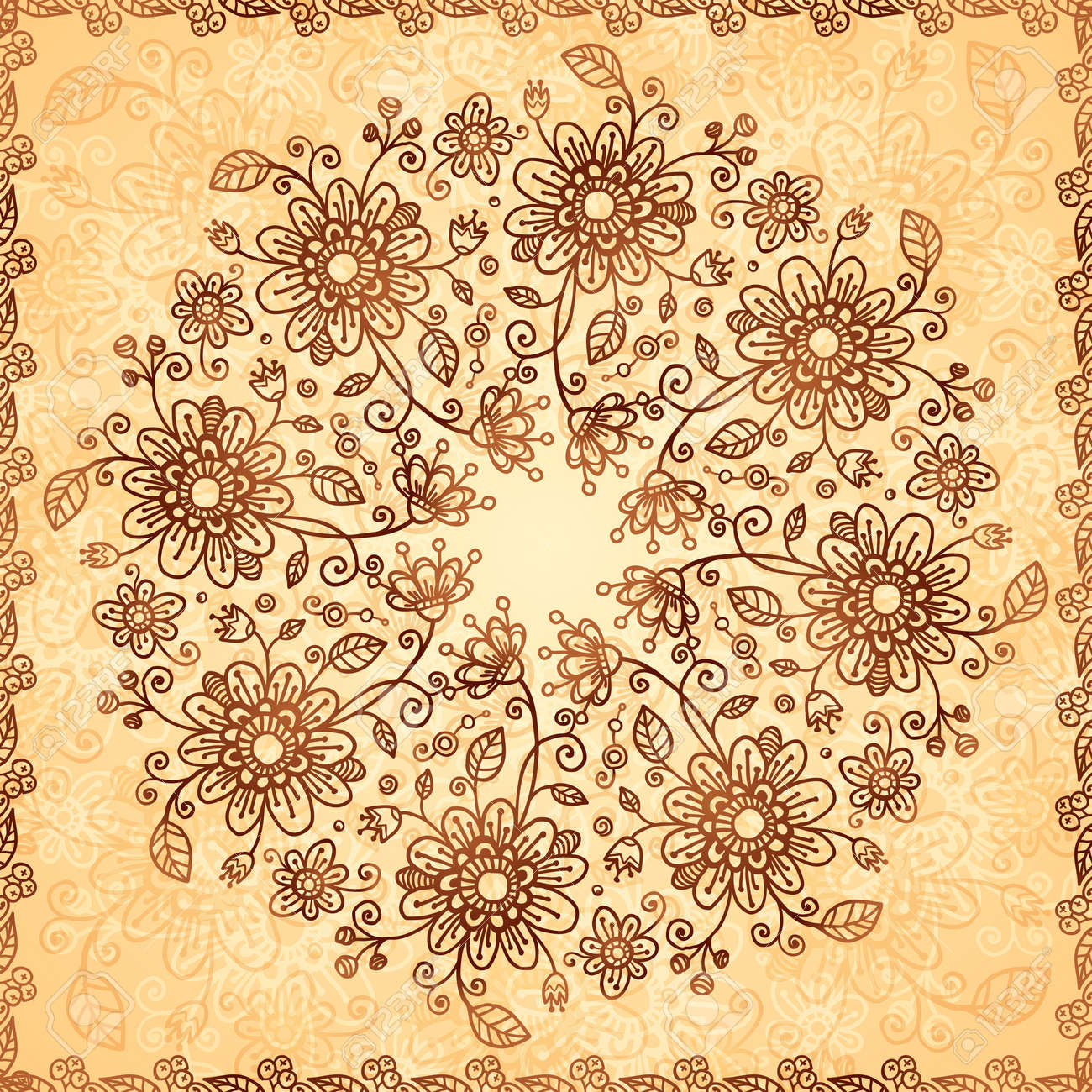 Ornate  doodle flowers background Stock Vector - 17439390