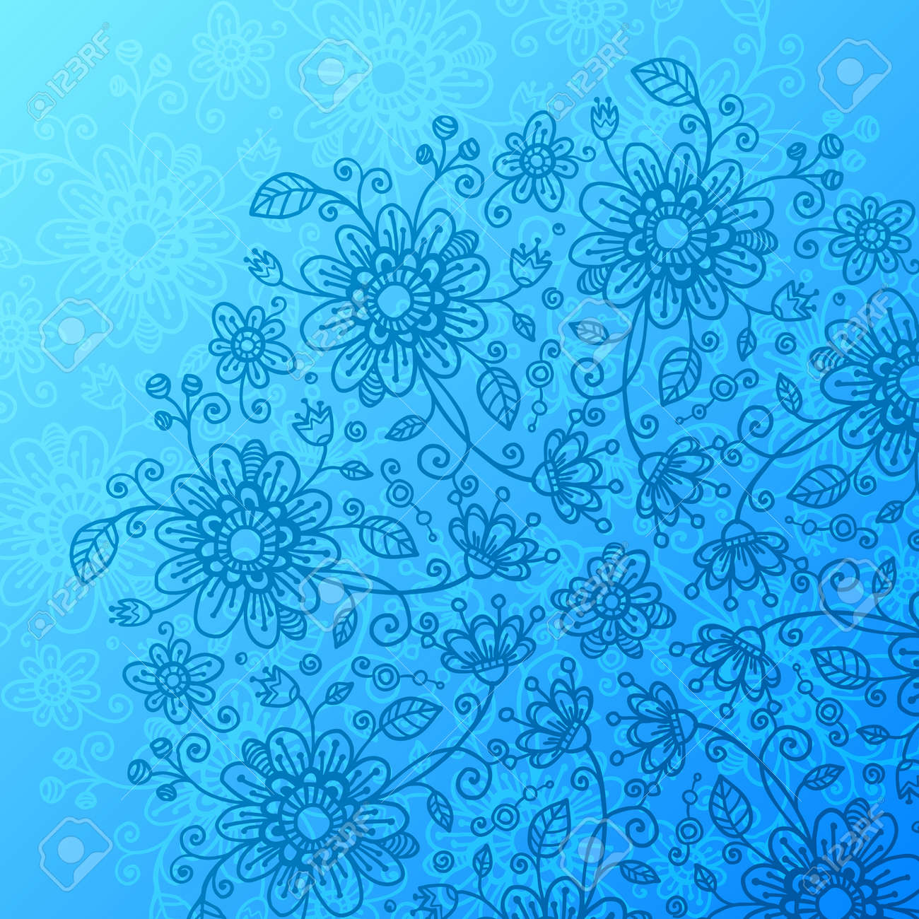 Bright blue flowers background Stock Vector - 17502127
