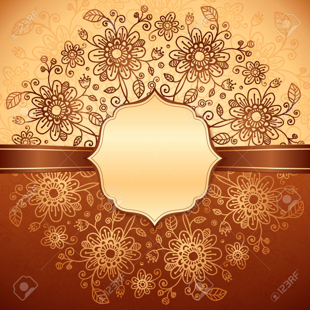Vintage beige floral background with ribbon and label Stock Photo - 17502144