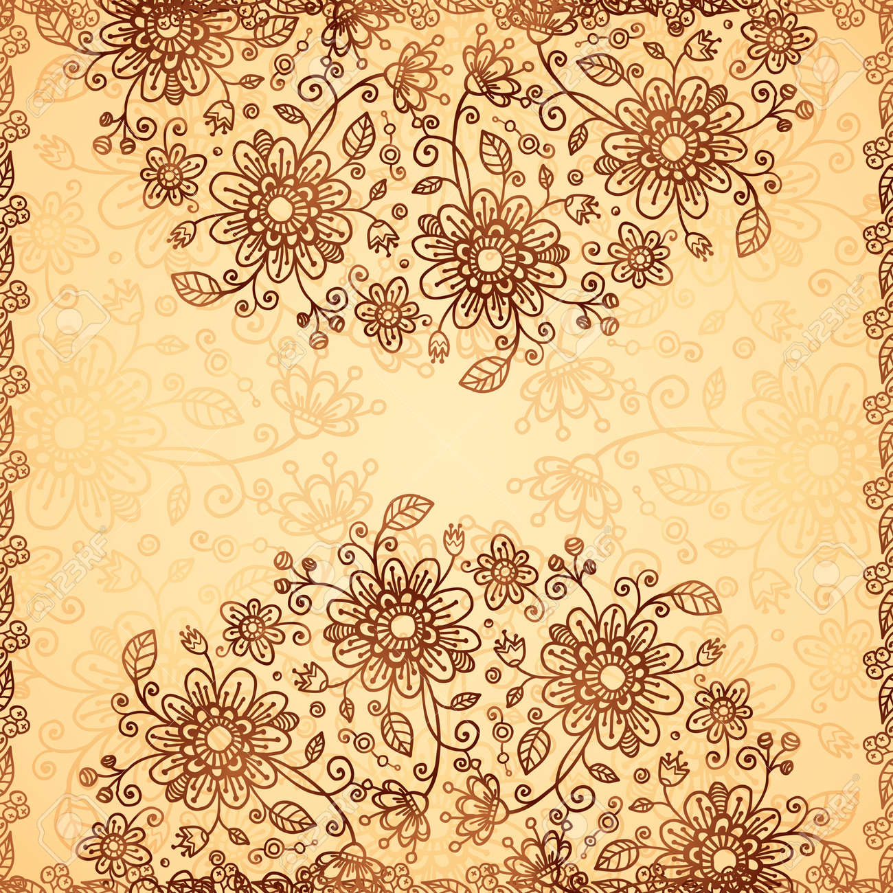 Ornate   doodle chocolate and vanilla flowers background Stock Photo - 17540554