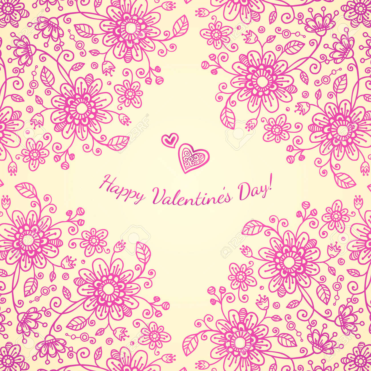 Pint valentines day doodle flowers background Stock Vector - 17540560